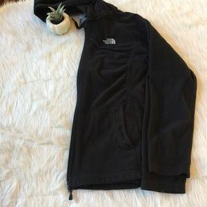 North Face Jacket Polartec Zip Hood Black Fleece